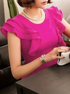 Rose Sheath Date Work Frill Sleeve Ruffled Solid Midi Dress Sleeves Designs For Dresses, Fancy Blouse Designs, Blouse Neck Designs, Blouse Styles, African Fashion Dresses, Fashion Outfits, Dress Sewing Patterns, Blouses For Women, Clothes