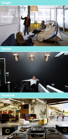 Google, Facebook, and Twitter know how to build office space! Creativity and Collaboration are key!