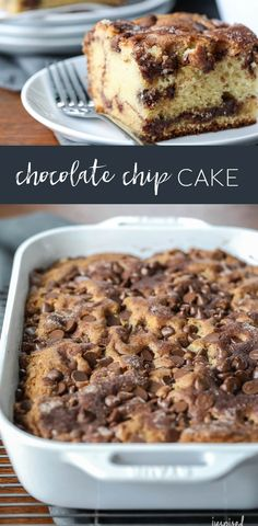 This Chocolate Chip Cake is not only delicious, but easy to make! #chocolatechipcake #chocolate #cake #cinnamon #dessert #recipe #quick
