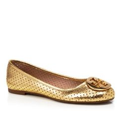 Tory Burch gold Reva flats  Authentic brand new in box and original packaging! No flaws at all. A chance to own these beautiful gold flats with stunning cut out details. Style is Reva, color is Mirror Craquelee.   Originally purchased at Bloomingdales.   New Reva Fit. Runs big!!   Priced high. Offers welcome! Tory Burch Shoes Flats & Loafers