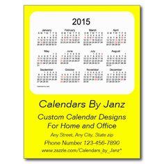 2015 Holiday Calendar by Janz Yellow Postcard