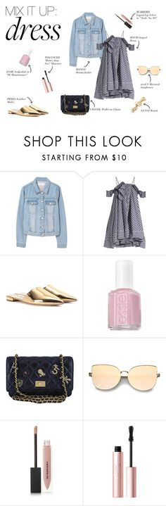 """""""Mix It Up: Dress"""" by polygonlane ❤ liked on Polyvore featuring MANGO, MSGM, Prada, Essie, Chanel, Burberry, Too Faced Cosmetics and Gucci"""