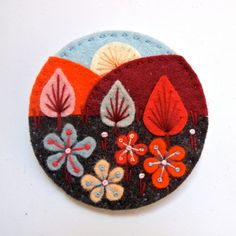 25% EASTER SALE EVENT Treescape felt brooch pin with freeform embroidery - scandinavian style