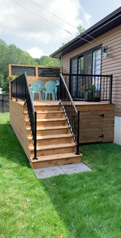 Small Yard Landscaping, Backyard Patio Designs, Exterior Stair Railing, Gazebo On Deck, Patio Plans, Privacy Screen Outdoor, Outdoor Retreat, Outdoor Living, Deck Furniture