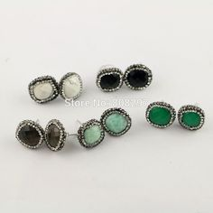 Fashion 6Pairs Natural Labradorite,Amazon,Turquoise Stone Stud Earrings, Pave Crystal Gem stone Earring, Charm Druzy Earrings