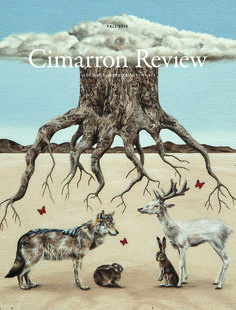 """""""Shelter"""" by Amy Guidry; Acrylic on canvas; 10"""" x 10"""" on the cover of the Cimarron Review Fall 2015 issue  #art #painting #nature #landscape #desert #animals #surrealism #surrealist #rabbits #tree #clouds #deer #AmyGuidry"""