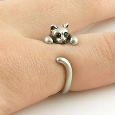 Animal Wrap Ring - Kitten / Cat - White Bronze - Adjustable Ring - kej – Keja Designs Jewelry