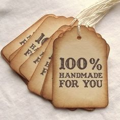 100% Handmade For You Tags