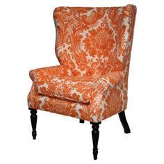 One Kings Lane - Clean-Lined Design - Davis Chair, Tangerine Funky Furniture, Luxury Furniture, Furniture Design, Orange Furniture, Luxury Chairs, Upholstered Chairs, Wingback Chairs, Cool Chairs, Awesome Chairs