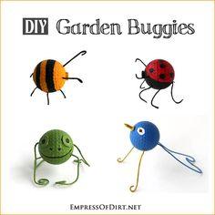 DIY Garden Buggies - turn useless, old golf balls into supercute bugs and animals - fun craft to do with kids
