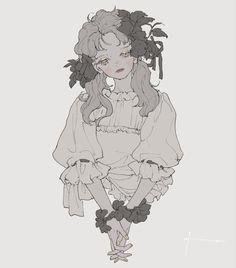 Pretty Drawings, Art Drawings, Pretty Art, Cute Art, Arte Peculiar, Gothic Anime, Funky Art, Anime Sketch, Anime Art Girl