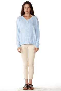 Our #Stylish Sky Blue Pointelle Sweater is best for a movie night #FreeShipping #ootd