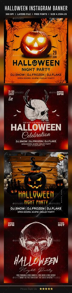 Halloween Instagram Banners by dhingra | GraphicRiver Halloween Flyer, Halloween Night, Note Fonts, Instagram Banner, Halloween Celebration, Banner Template, Web Banners, Party, Color