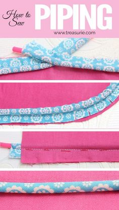 Sewing piping can add a professional touch to the edges of cushions, bags, quilts and even clothing. Learn how to sew piping step by step for beginners. Sewing Terms, Sewing Lessons, Sewing Basics, Sewing Patterns Free, Free Sewing, Sewing Hacks, Sewing Tutorials, Sewing Ideas, Retro Apron Patterns