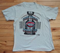 Vintage Montreal Canadiens Large Stanley Cup Memorial T Shirt NHL VTG 716fac900