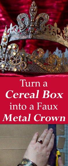 Turn a Cereal Box into a Faux Metal Crown by Heather K. Tracy for The Graphics Fairy! Amazing Craft Transformation, love these trash to treasure projects!
