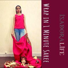 Isadora Life - Wrap In 1 Minute Saree White Beige, Blue And White, Beige Sandals, Party Sarees, Satin Saree, Work Sarees, Printed Sarees, Saris, Sarees Online