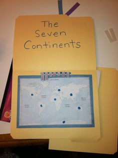 File folder labeling the seven continents- just use velcro!
