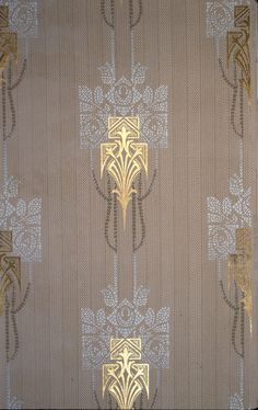 Above is a group of stylized white roses, printed in a mosaic effect. Background is a striped brown. Craftsman Wallpaper, Art Nouveau, Art Deco, Antique Wallpaper, Textile Patterns, Textiles, Pattern Recognition, Paint Stripes, Gold Paint