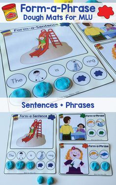Dough Mats: Practice Forming Phrases + Sentences Using Playdoh to form Sentences and Phrases (Speech Therapy)Using Playdoh to form Sentences and Phrases (Speech Therapy) Preschool Speech Therapy, Speech Therapy Activities, Language Activities, Shape Activities, Speech Language Therapy, Speech Language Pathology, Speech And Language, Phrases And Sentences, Receptive Language