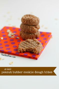 Peanut Butter and Honey Cookie Dough Bites (No Bake)