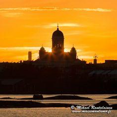 Sun is setting behind Helsinki Cathedral, Suomenlinna, Helsinki, Finland ..photo....Mikael Rantalainen