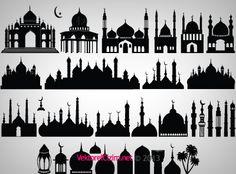 Vektörel Çizim | Cami, Minare, Kubbe, Şadırvan