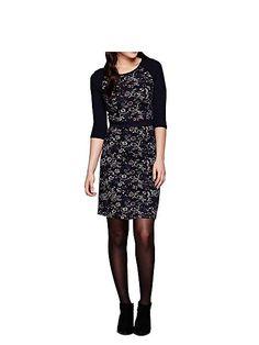 Navy Floral Print Knit Dress