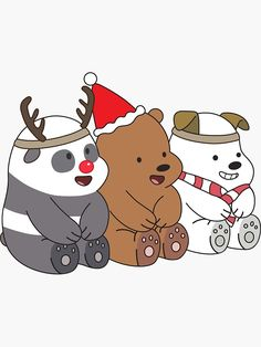 """""""We Bare Bears Xmas"""" Sticker by plushism"""