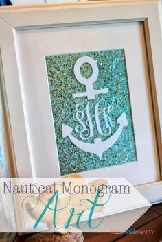 She's {kinda} Crafty: 20 Minutes Tuesday | Nautical Monogram Art