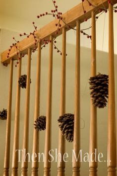 craft, christma thing, pine cone, countri christma, pinecon decor, hang cone, country christmas, garlands, decorations
