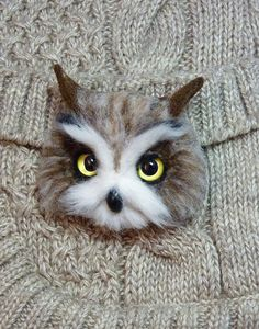 MADE TO ORDER Felted Owl Owl Brooch Owl miniature by SvetlanaToys