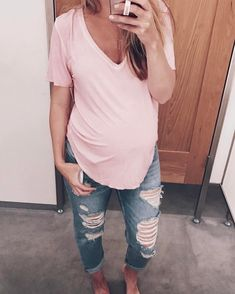 "886 Likes, 8 Comments - Lynzy Coughlin (@lynzyandco) on Instagram: ""The perfect NON maternity tee for $17! super soft and comes in 4 colors. I scooped up a…"""