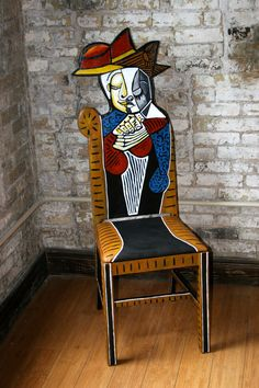 Picasso Tete Dune Femme Lisant handpainted chair by artist Todd Fendos. $595.00, via Etsy. More examples can be seen at www.ToddFendos.com. #bohemiaart #Picasso #paintedfurniture