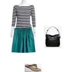 Teal skirt, black & white stripe tee