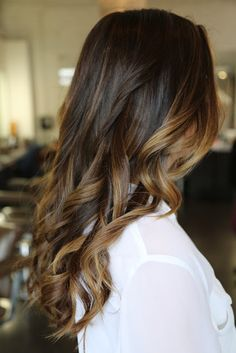 "brunette with carmel highlights - this is the highlights I want. Natural ""sun in the summer grown out"" look ;)"