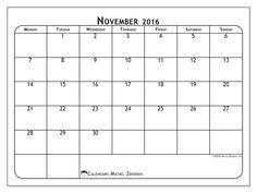 Free! Calendars for November 2016 to print