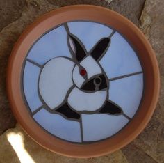 bunnyrabbit.com // Stained Glass Plate /rabbit-Californian with blue background