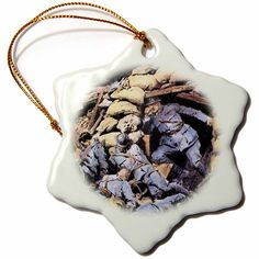 3dRose orn_83108_1 World War I, French Captain, Drawing HI13 PRI0265 Prisma Snowflake Porcelain Ornament, 3-Inch -- Hurry! Check out this great product : Wedding Decor