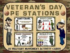 """Veteran's Day PE Stations- 20 """"Military Movement"""" Activity Cards"""