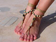 Blue tones beads Barefoot sandals. wedding sandals. hippie barefoot sandals , barefoot sandles, crochet barefoot sandals, , yoga, anklet. $24.00, via Etsy.