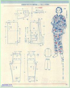 Japanese book and handicrafts - Lady Boutique 2014 Kimono Pattern Free, Pajama Pattern, Gown Pattern, Collar Pattern, Dress Sewing Patterns, Clothing Patterns, Embroidery Patterns, Sashiko Embroidery, Sewing Pants