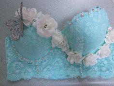 Mint Butterfly Fairy Rave Bra 34C by NewWaveAttire on Etsy, $55.00