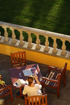 Enjoying the evening sun on the terrace
