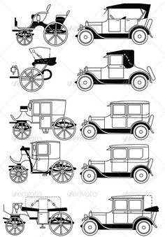 Set of the Retro Cars. Set of the old isolated cars. Created: GraphicsFilesIncluded: JPGImage Layered: No MinimumAdobeCSVersion: CS Tags: Landau Wooden Toy Trucks, Wooden Car, Retro Cars, Vintage Cars, Antique Cars, Henry Ford First Car, Car Silhouette, Diy Go Kart, Cool Old Cars