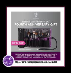 CUSTOMER KUDOSNovember 1 - November 30, 2016 FOURTH ANNIVERSARY GIFT Receive the new Younique Brush Roll worth $62 nzd as our Fourth Anniversary Gift to you when you spend $205 #younique #newzealand #beauty #makeup #cosmetics