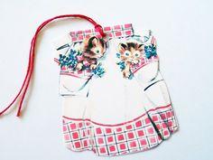 Retro Red Apron  Gift Tags  Set Of 3  Kitten Pockets  by SiriusFun
