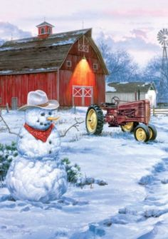 Barn, Tractor  Country Snowman...Painting