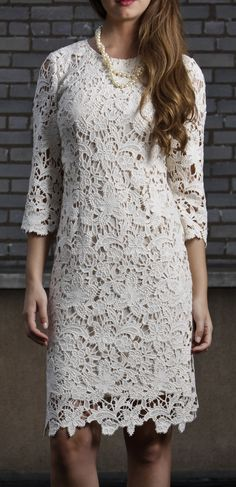 Beige Quintessential Lace Sleeve Dress