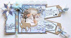 Voorbeeld okt. 2018 nr.10: Studio Light STENCILSL98, Marianne Design LR0556, CR1447, CR1449. Creative expressions CEDME022 Ticket, Christmas Cards, Xmas, Marianne Design, Studio Lighting, Creative Industries, Nature Animals, Stencils, Creations